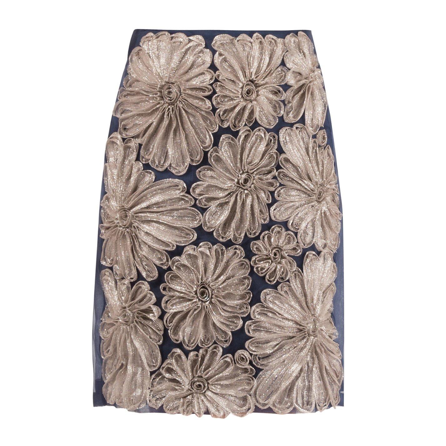 DRIES VAN NOTEN Floral Applique Skirt