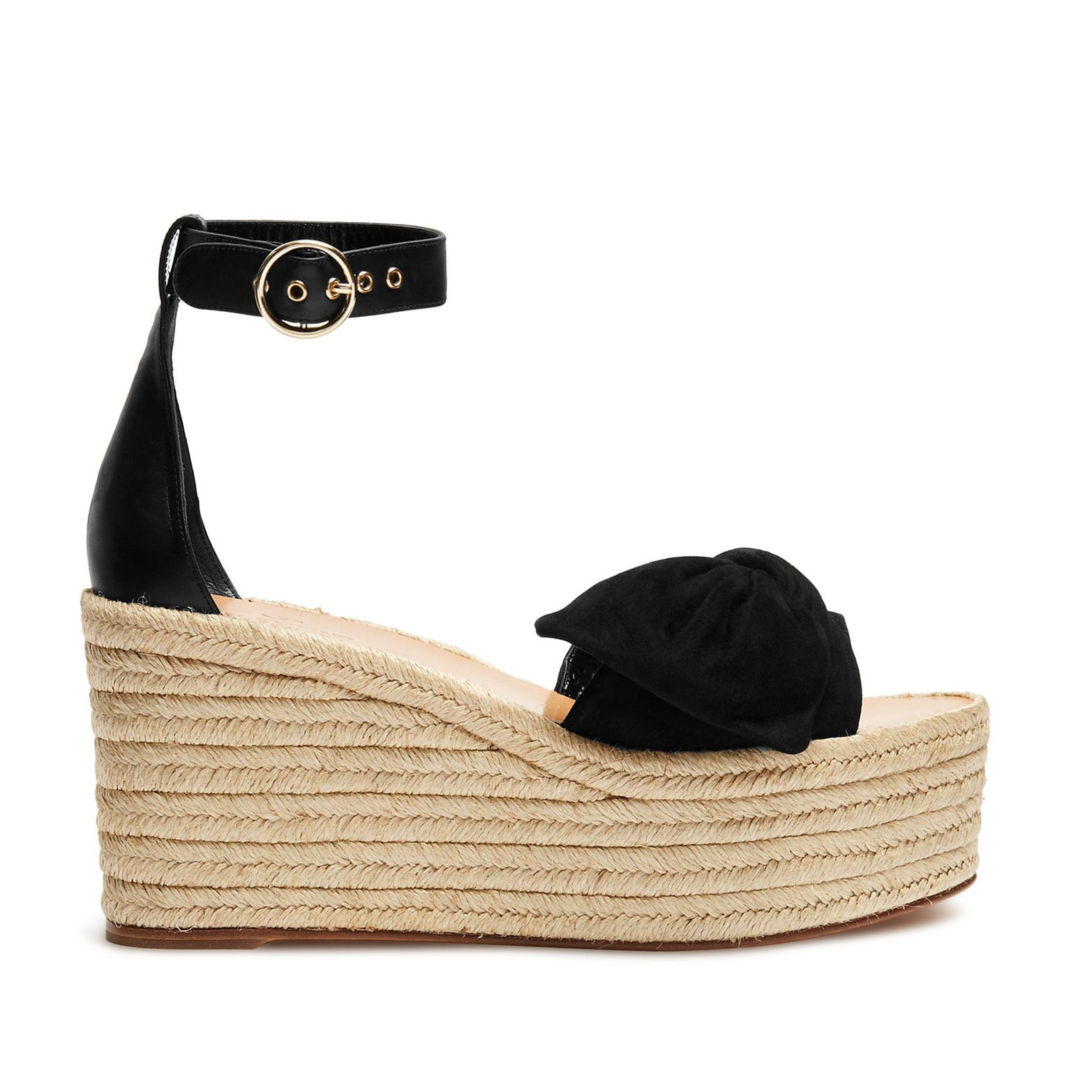 Valentino Tropical Bow Espadrille Wedge Sandals