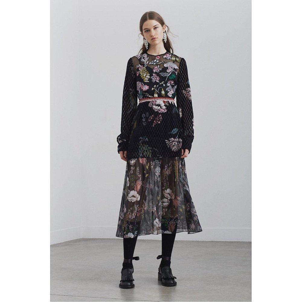 Markus Lupfer Mina Embroidered Velvet Devore Dress