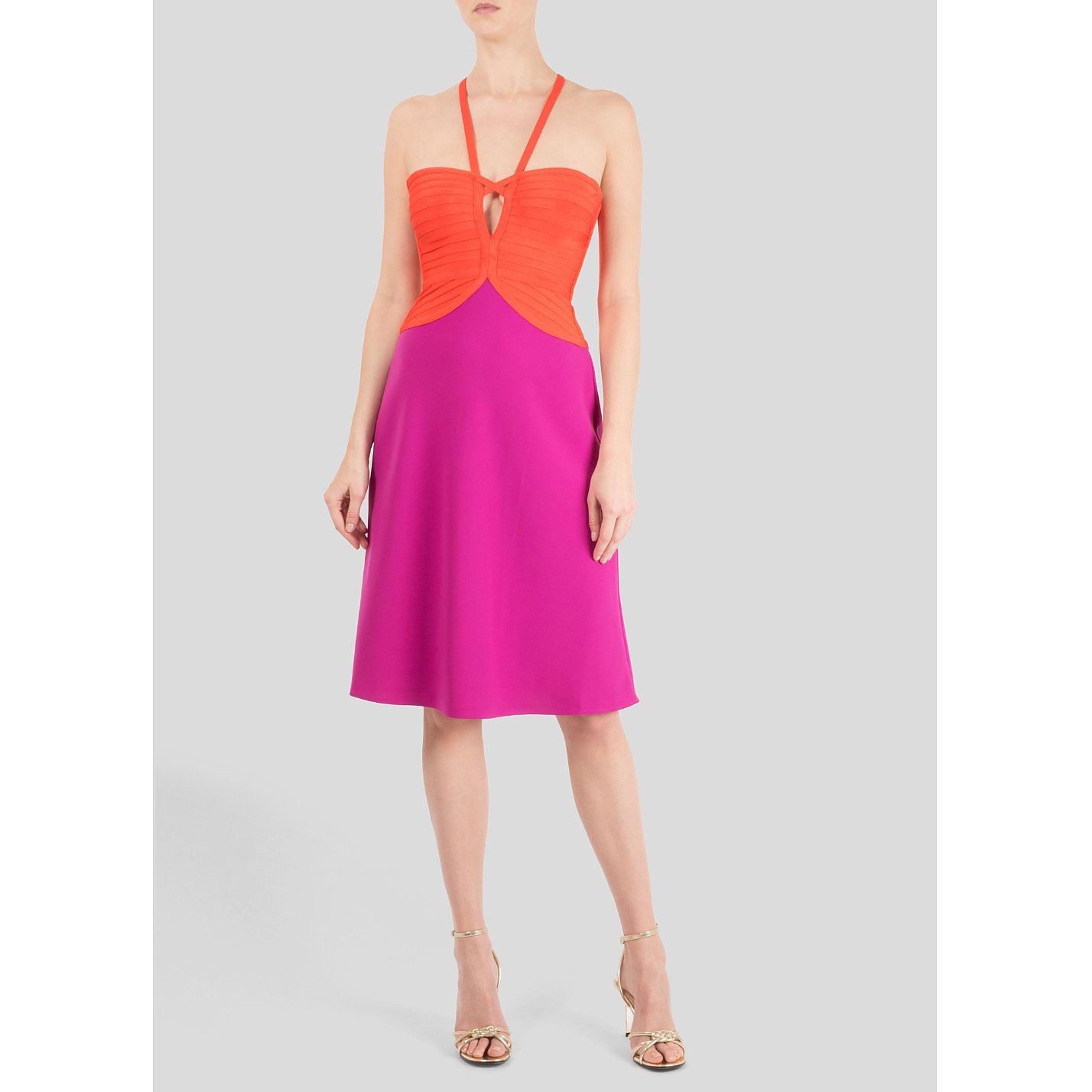 Herve Leger Two Tone Cut-Out Dress