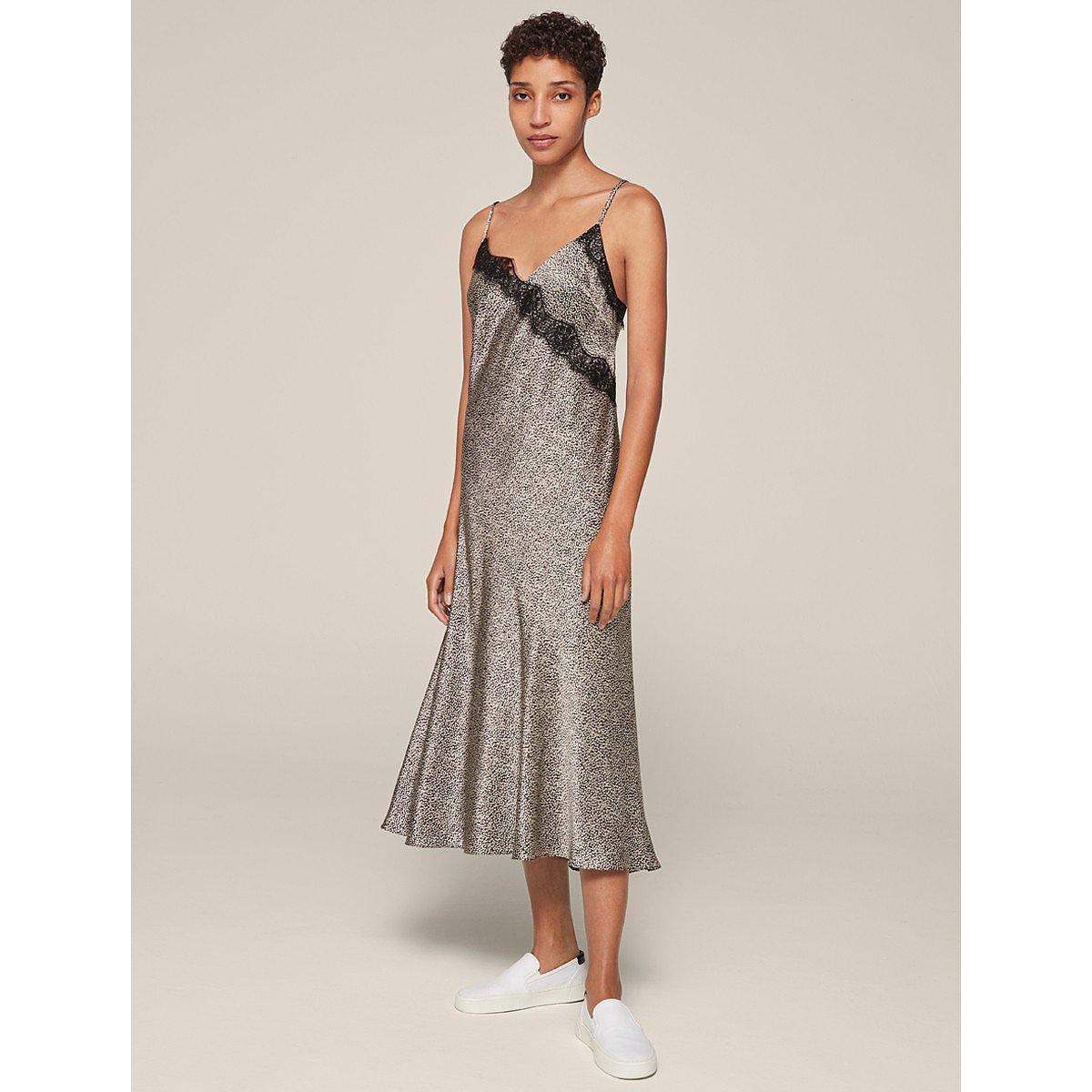 ME+EM Silk Leaf Print Bias Cut Dress