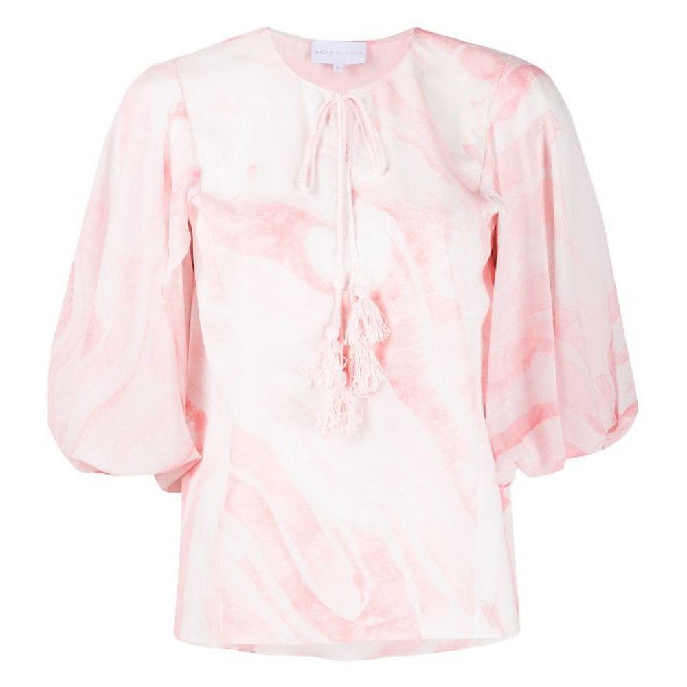 Noon By Noor Monmouth Marbled Tie-Front Top