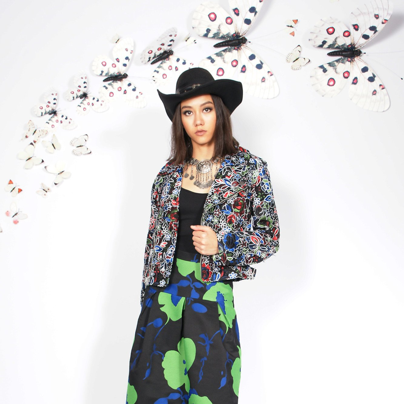 Syra J Biker Jacket With Flower Embroidery
