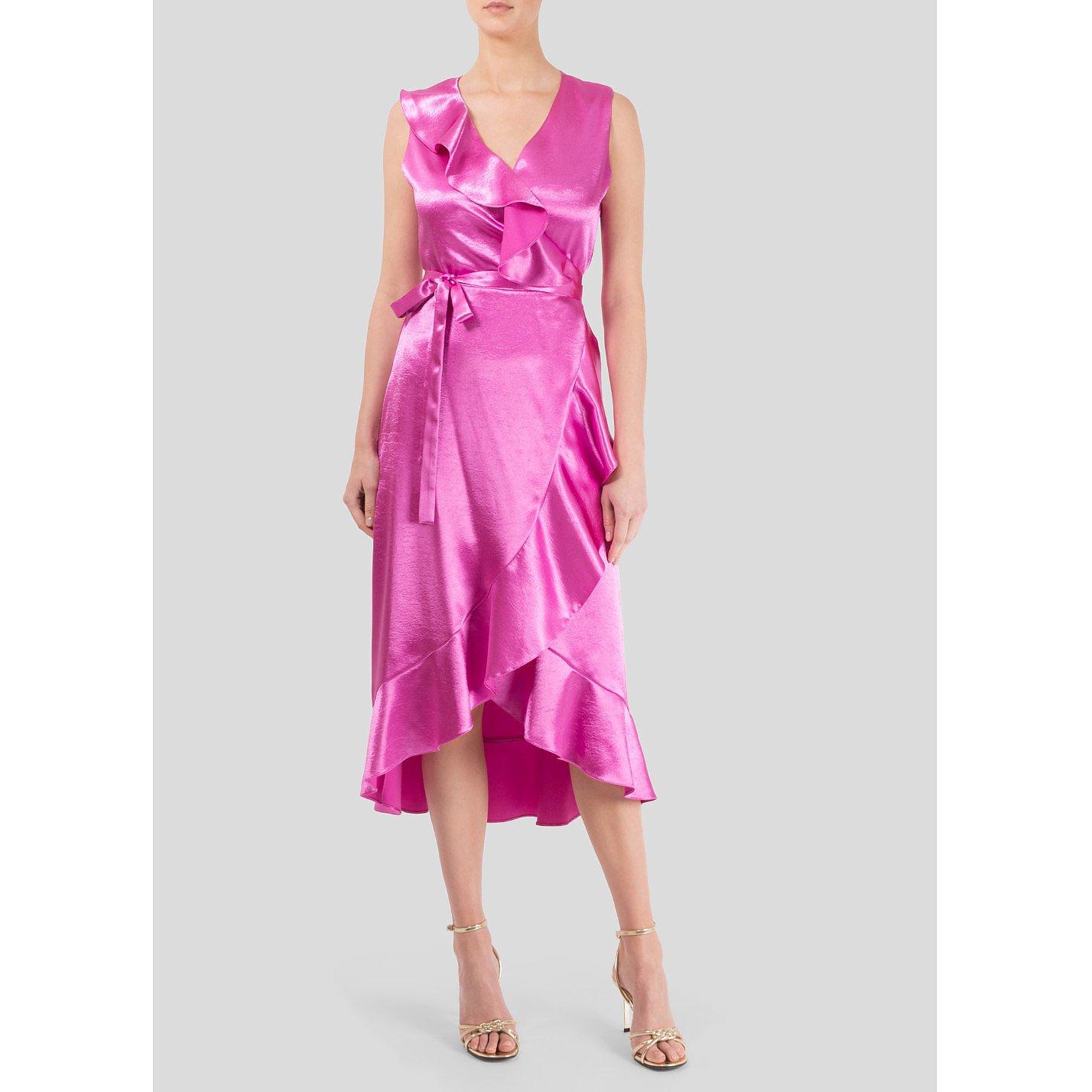 Maje Ripple Ruffled Satin Wrap Dress