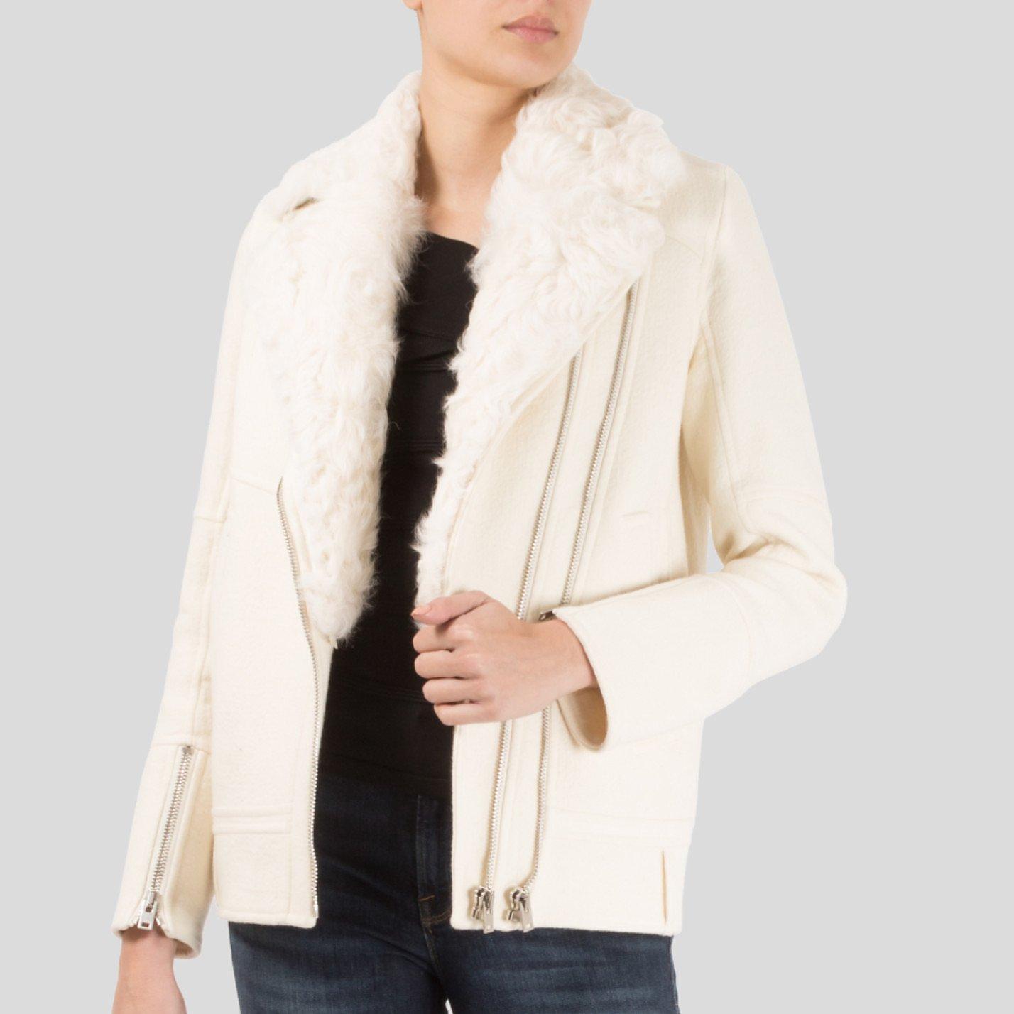 IRO Lamb Fur-Trimmed Biker Jacket
