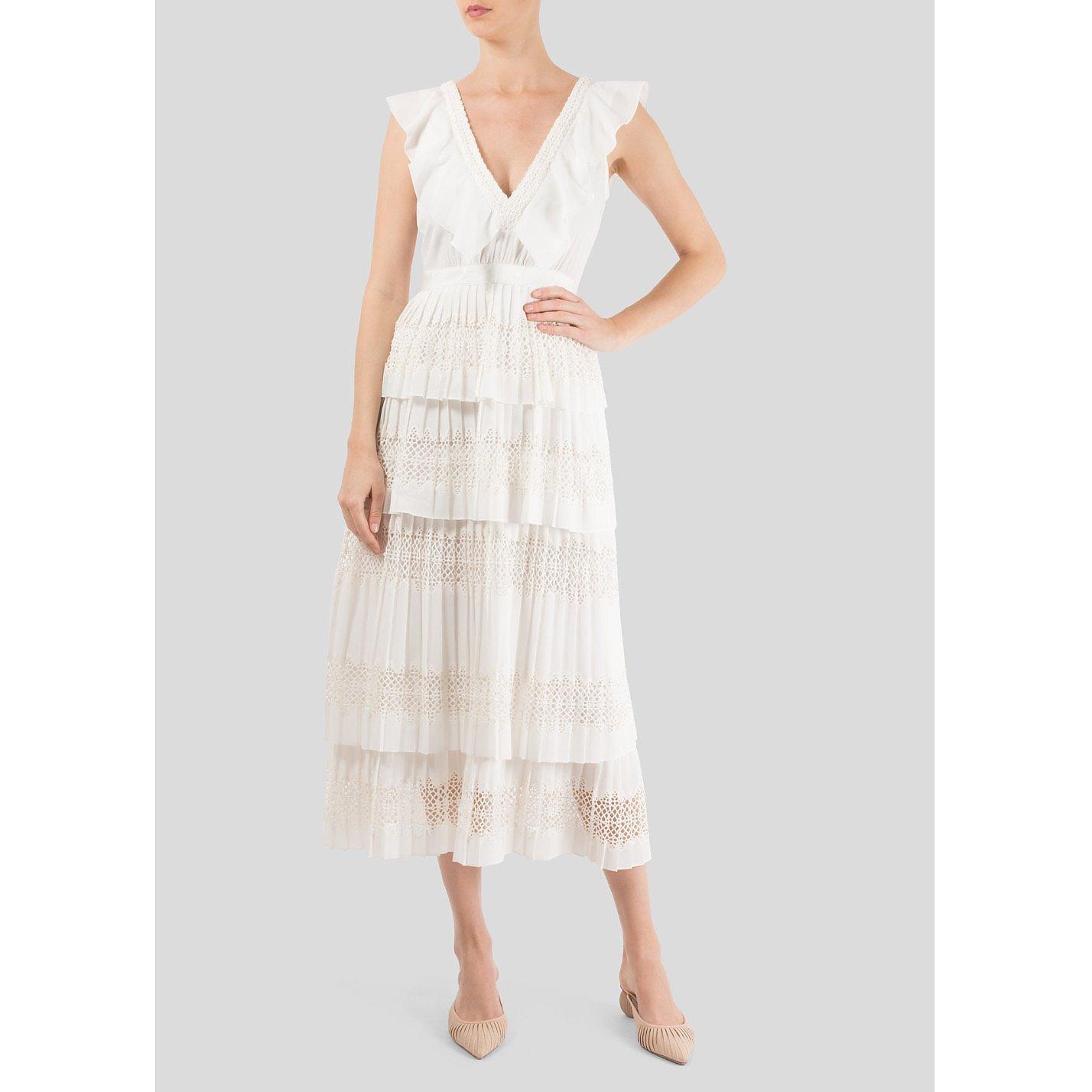 Self-Portrait Tiered Ruffle Midi Dress