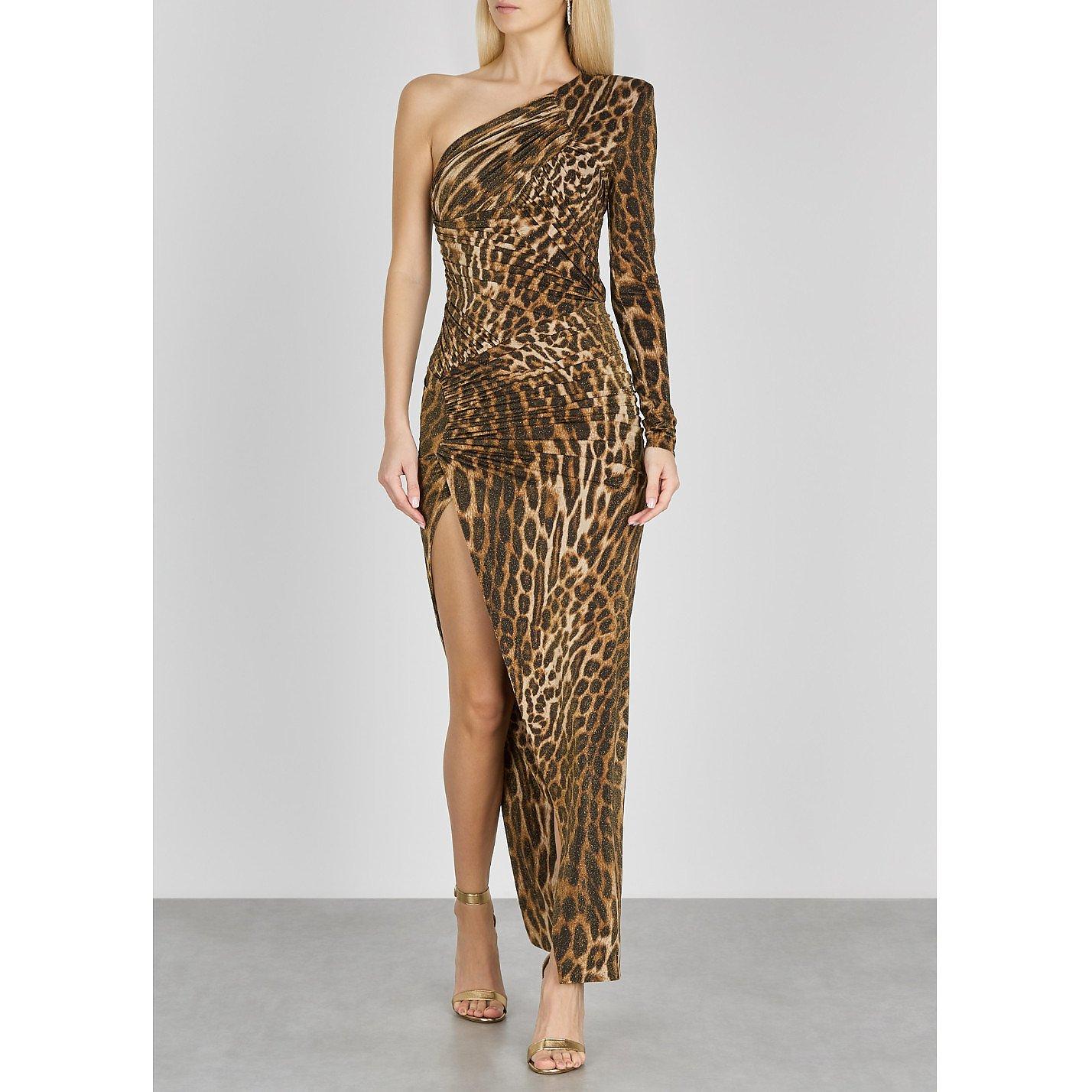 Alexandre Vauthier Leopard-Print One Shoulder Metallic Jersey Gown
