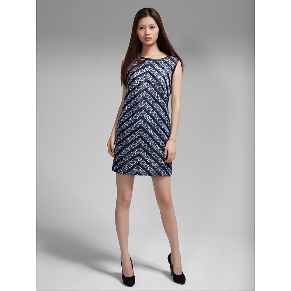 Shanghai Tang River Print Leather-Trimmed Dress