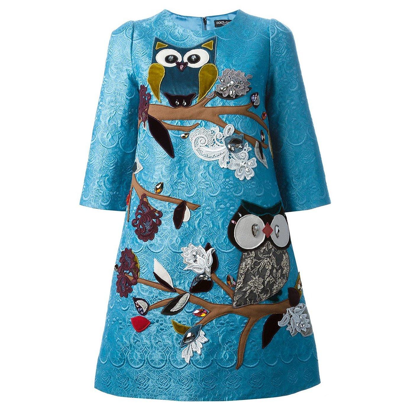 DOLCE & GABBANA Owl Embroidered Dress