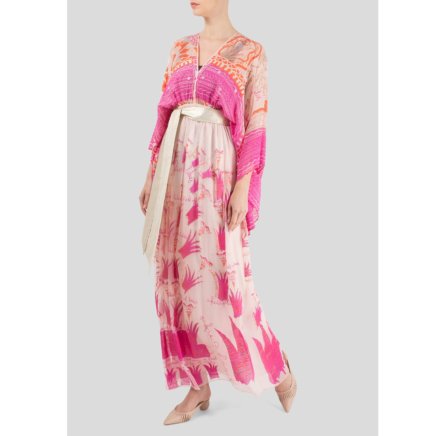 Zandra Rhodes Silk-Chiffon Blossom Maxi Dress