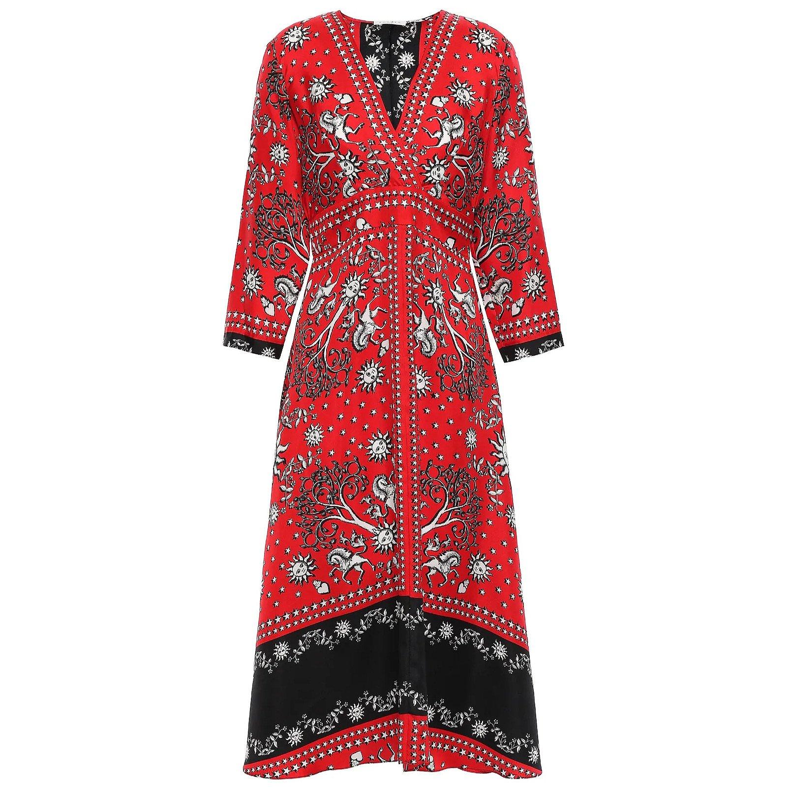 Sandro Printed Silk-Twill Midi Dress