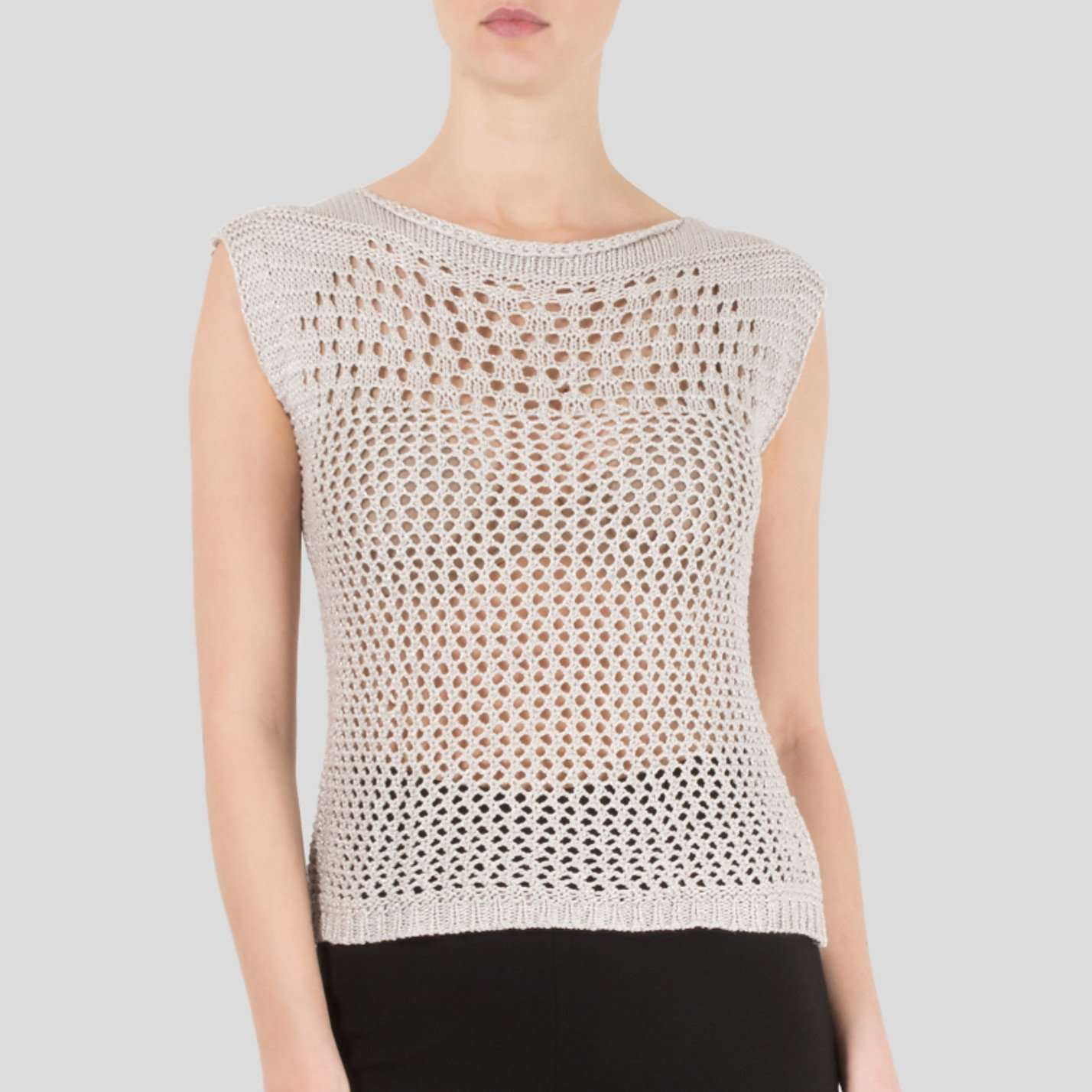 Pierre Balmain Knitted Metallic Top