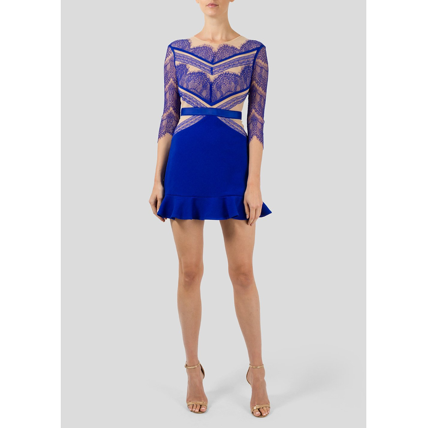 Three Floor Lace with Mini Dress with Ruffle Skirt