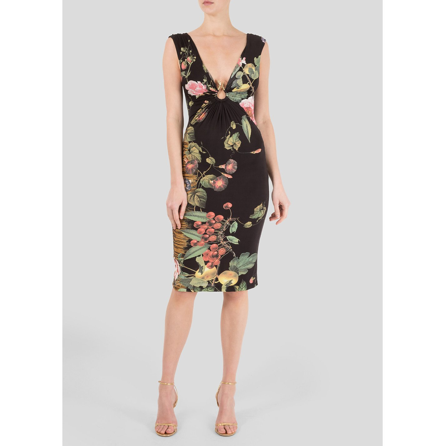 Roberto Cavalli Ruched Floral Dress