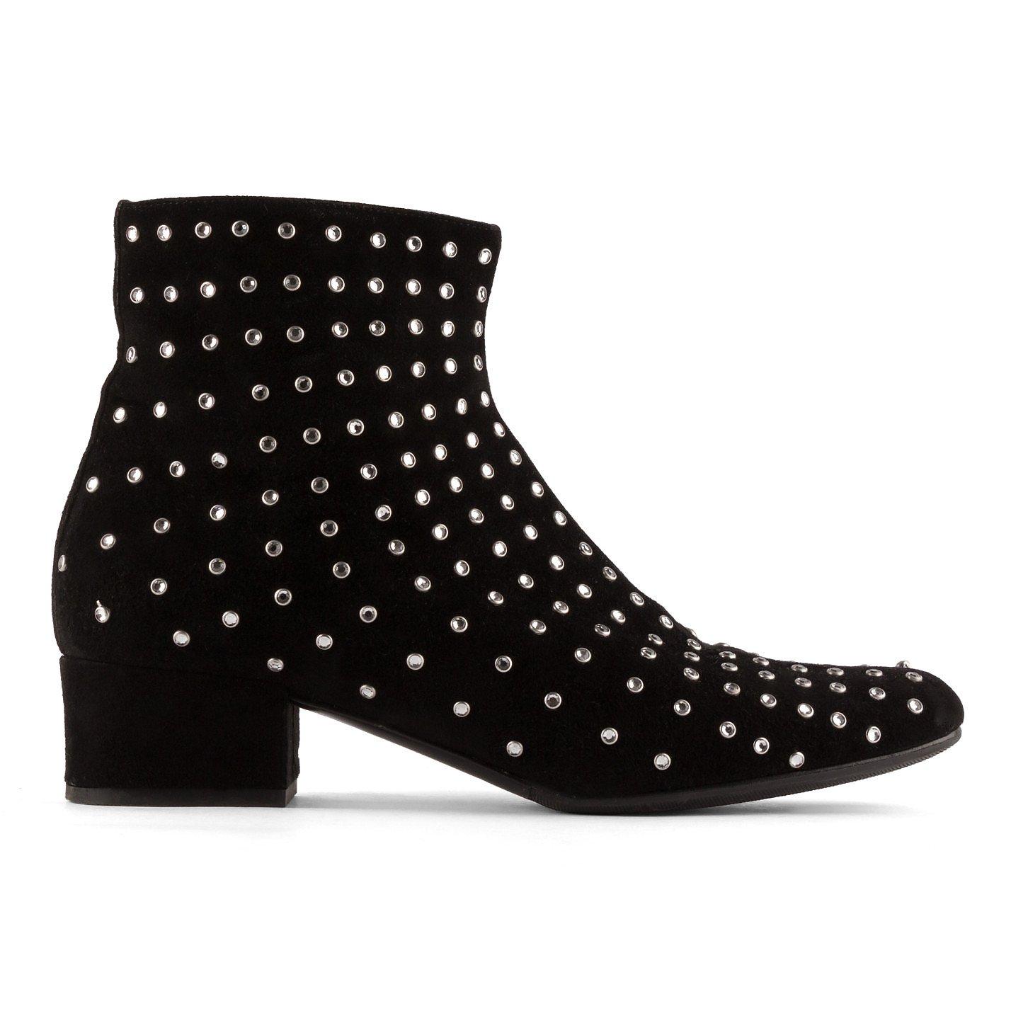 Saint Laurent Crystal Embellished Suede Ankle Boot