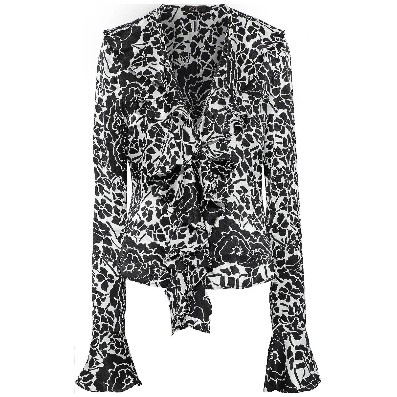 De La Vali Ruffled Printed Silk-Satin Blouse