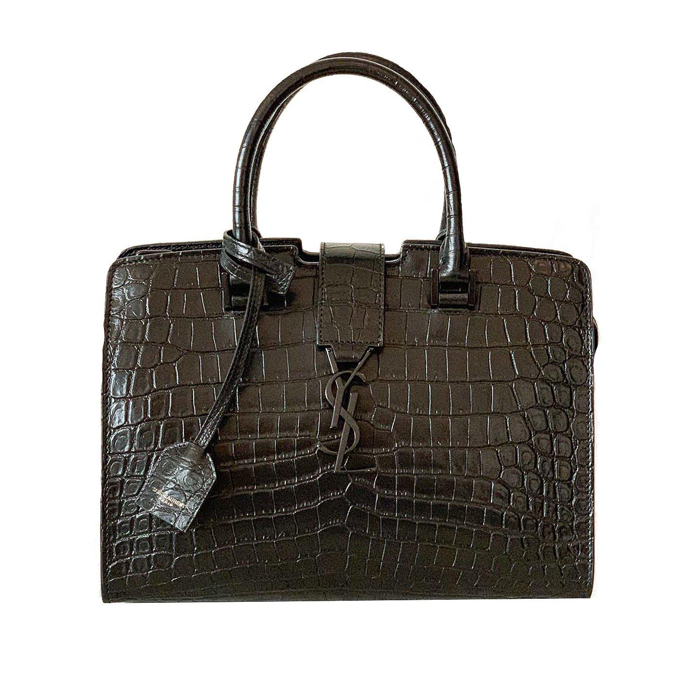 Saint Laurent Small Monogram Cabas In Crocodile Leather
