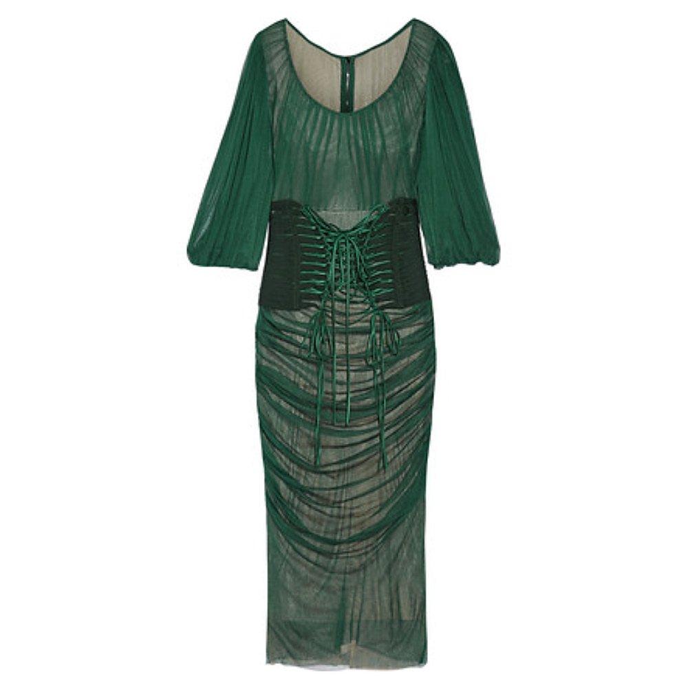 DOLCE & GABBANA Ruched Silk Corset Dress