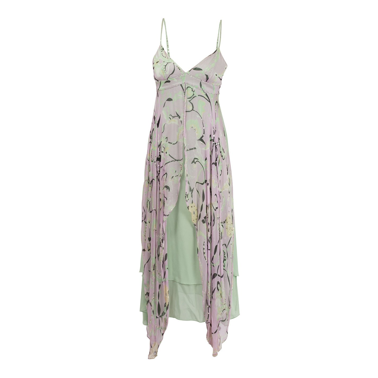 Temperley London Floral Silk Strap Dress