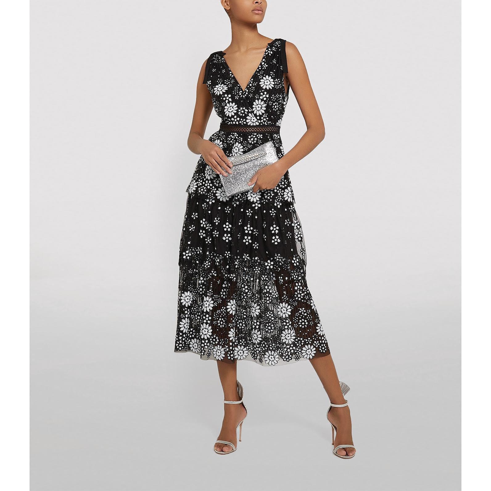 Self-Portrait Deco Sequin Midi Dress