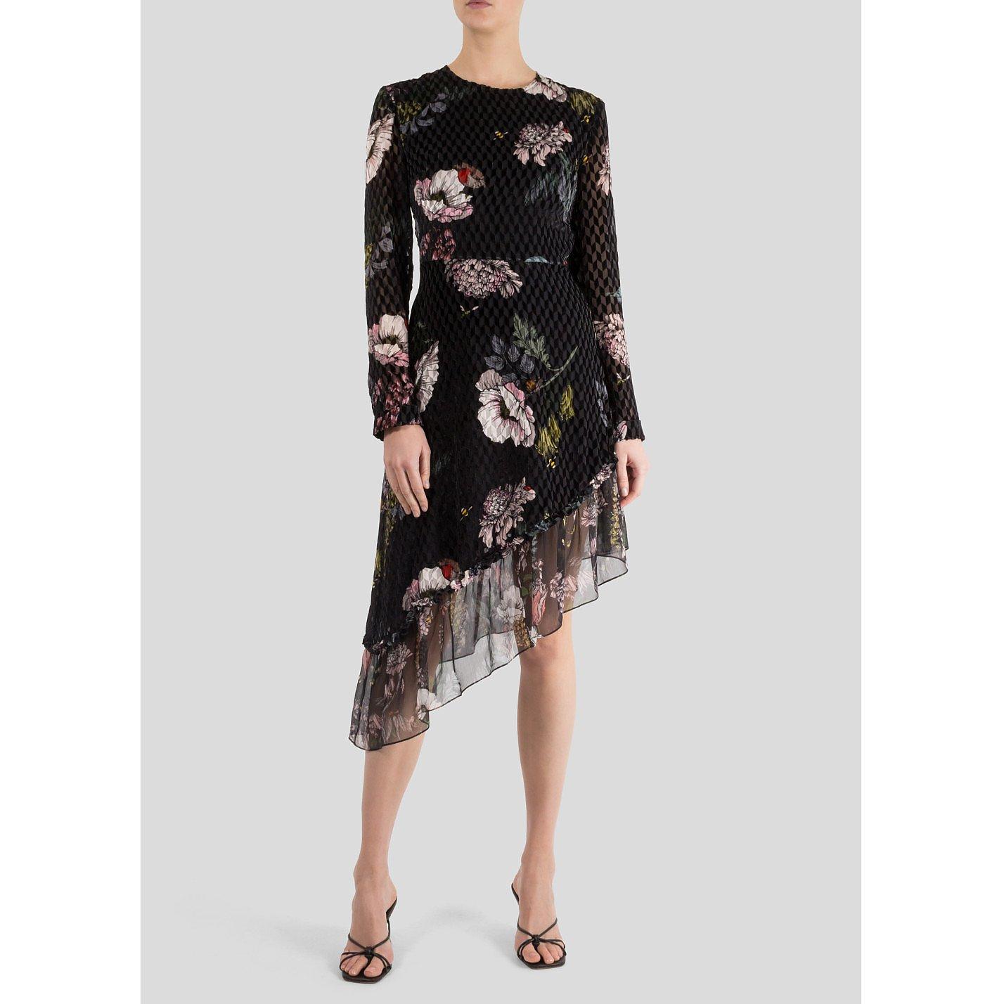 Markus Lupfer Kasey Garden Bloom Velvet Devore Dress
