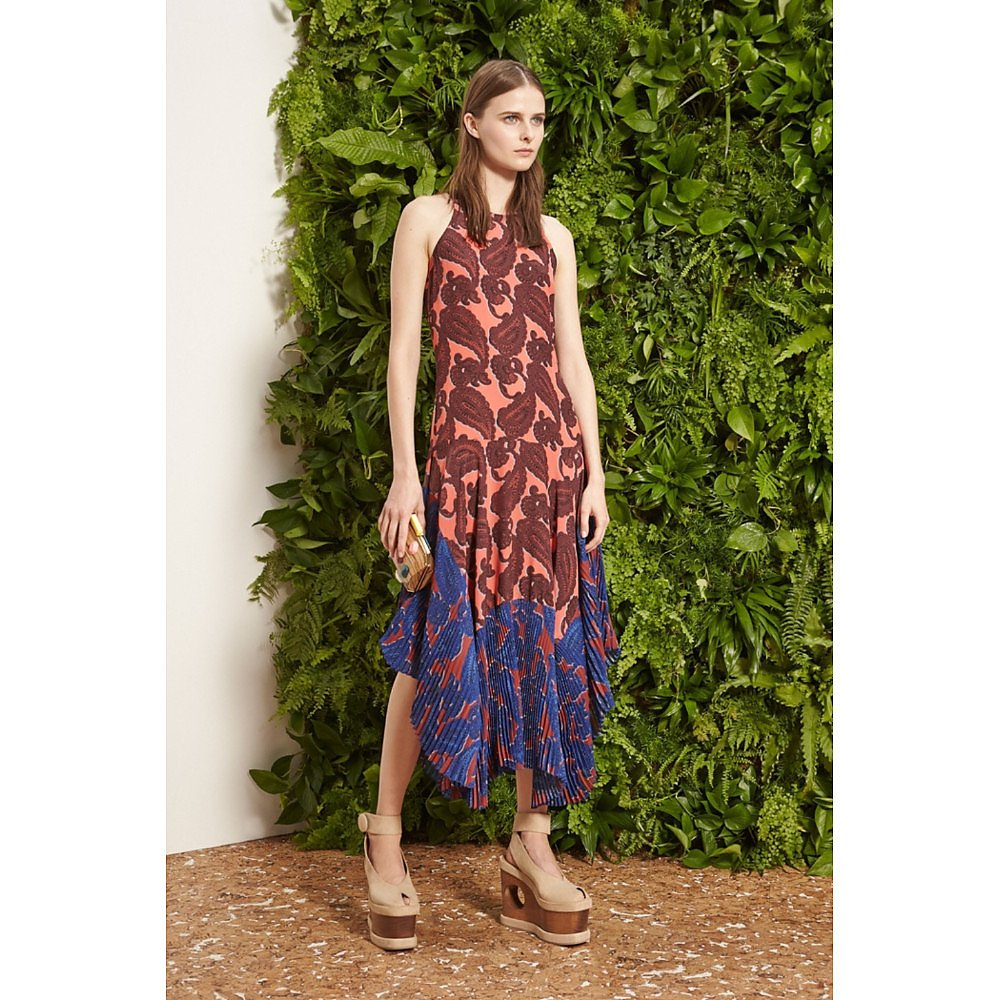 Stella McCartney Laila Paisley Pleated Silk Dress