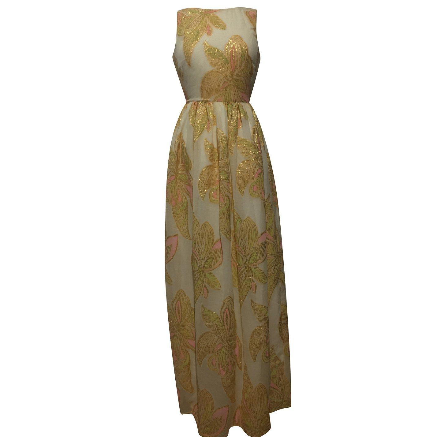Manoush Sleeveless Metallic Floral-Print Dress