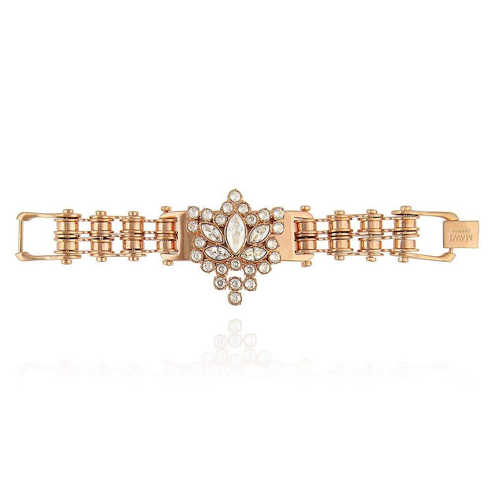 Mawi Bike Chain Crystal Cluster ID Bracelet