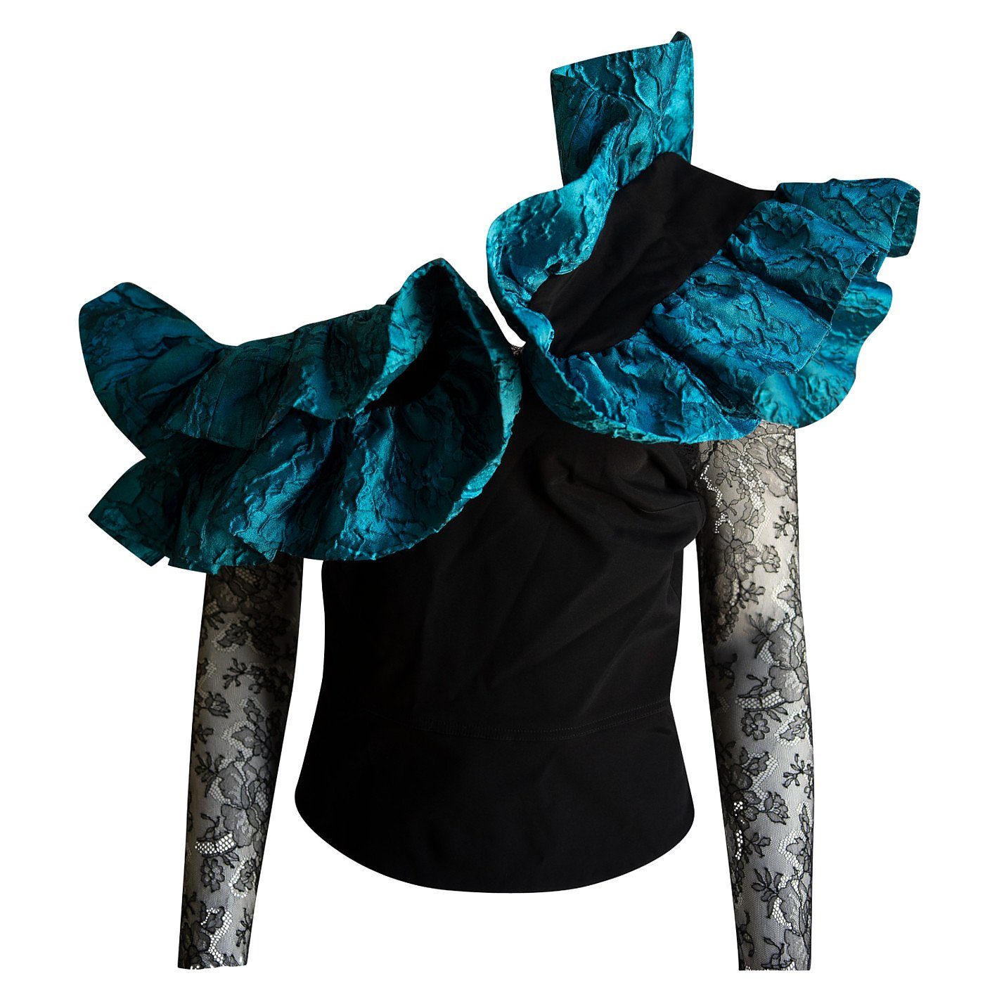 Emilio De La Morena Bonded Silk Ruffle-Strap Top