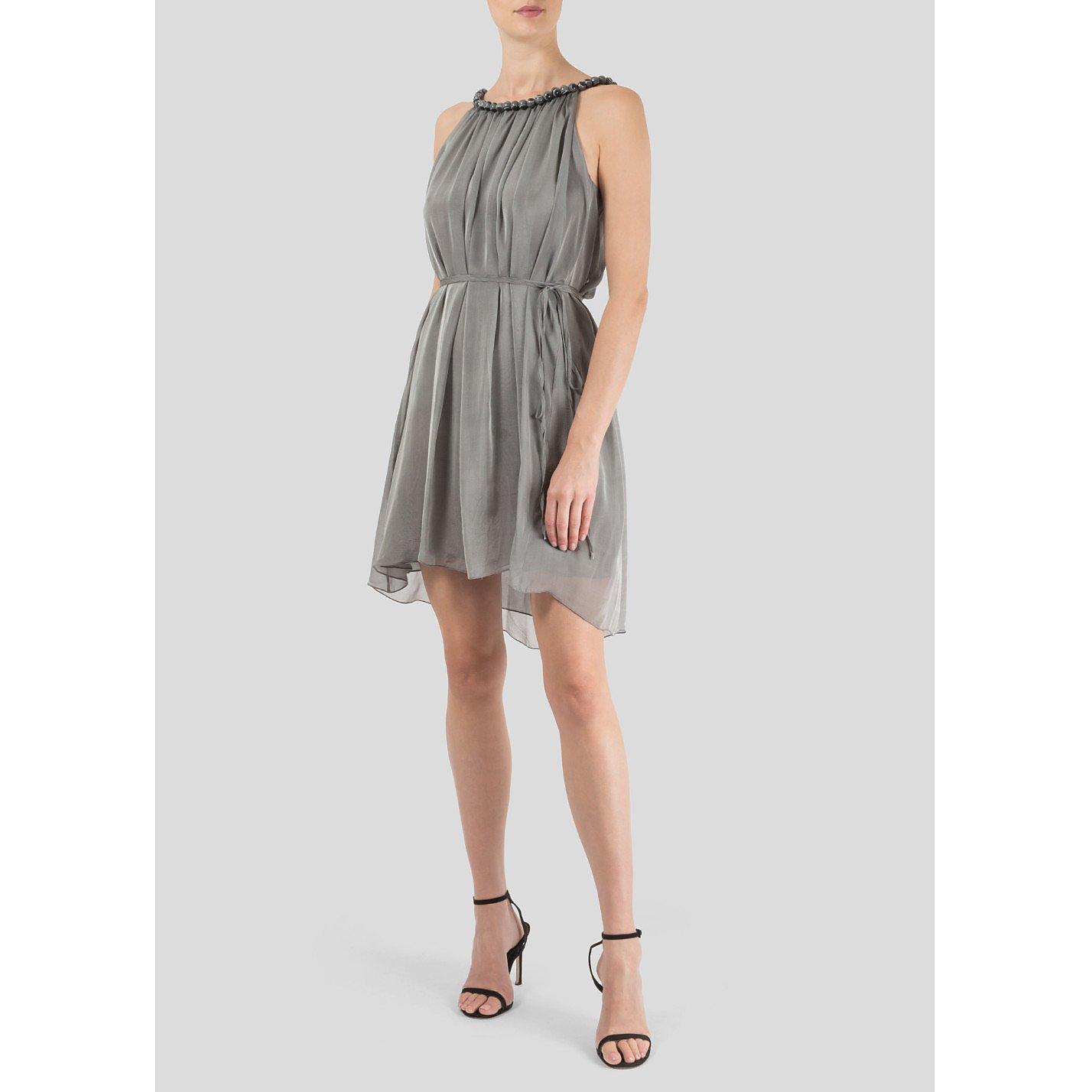 Thomas Wylde Silk Mini Dress with Beaded Neckline
