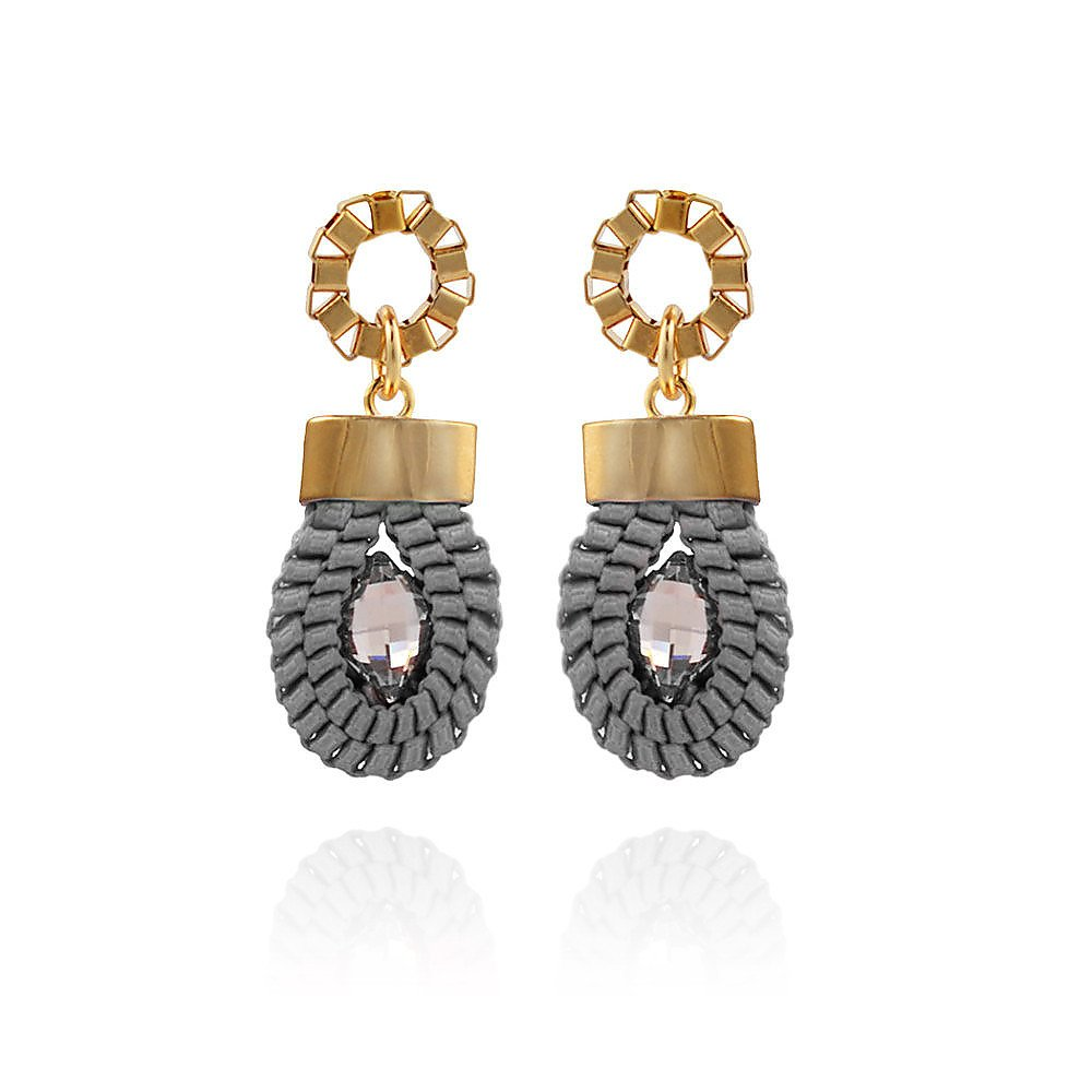 John & Pearl Loop Earrings in Rose Gold and Grey