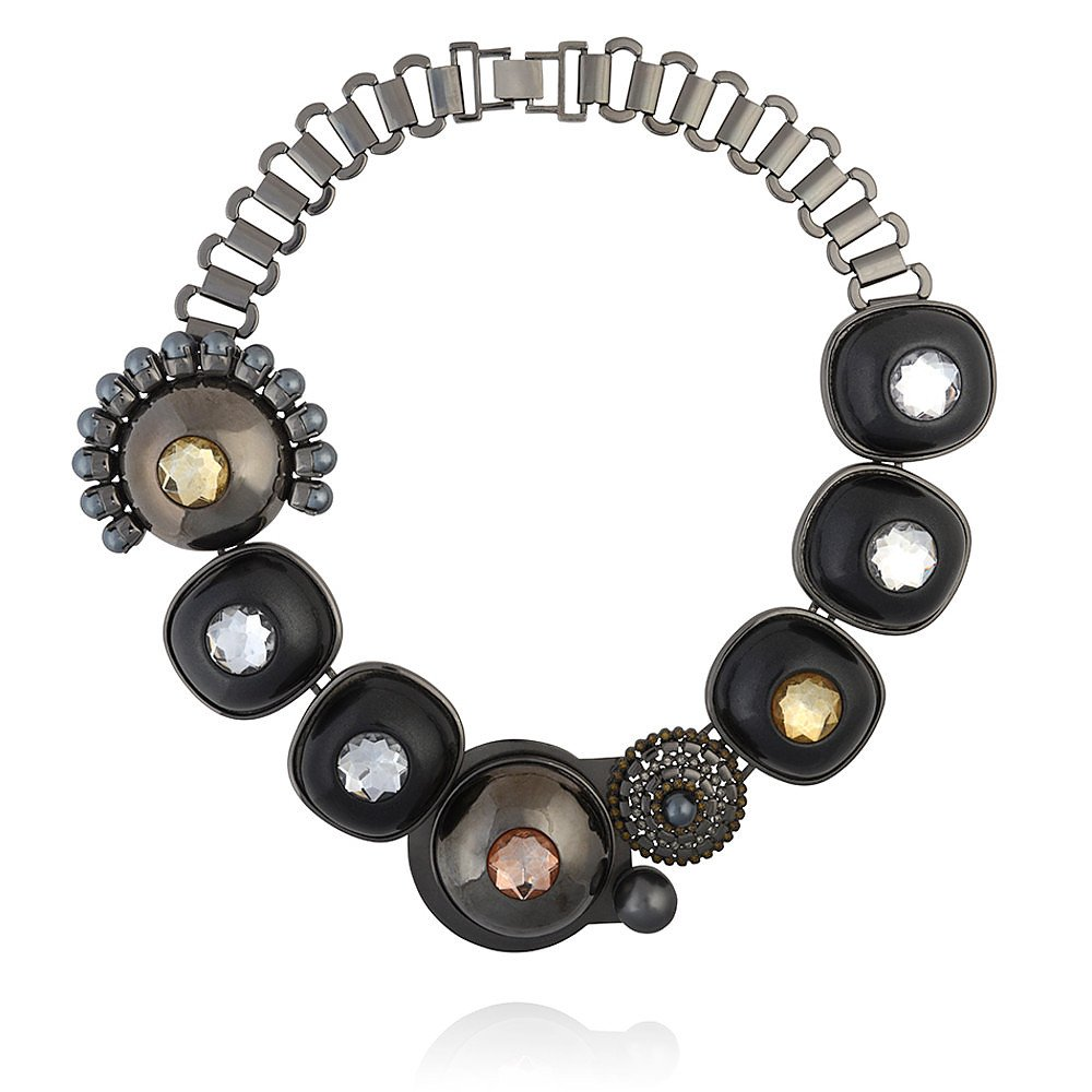 Mawi Vintage Hematite Dome Necklace