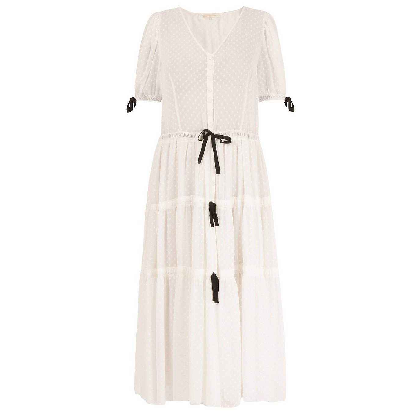 Love Shack Fancy Sheer Tiered Dotted Dress