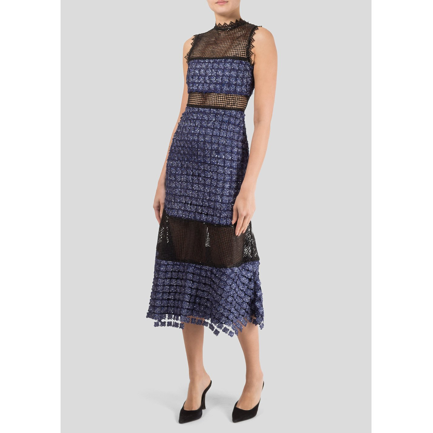 Self-Portrait Metallic Embroidered Dress with Sequin Panels