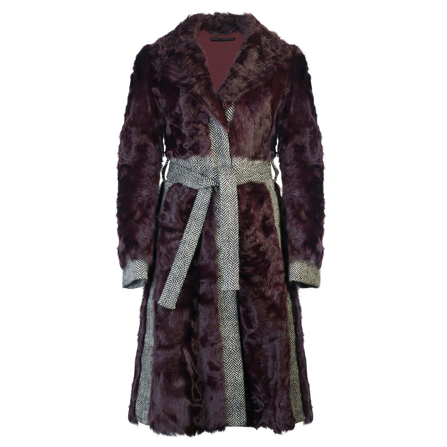 DOLCE & GABBANA Contrast-Trimmed Faux Fur Coat