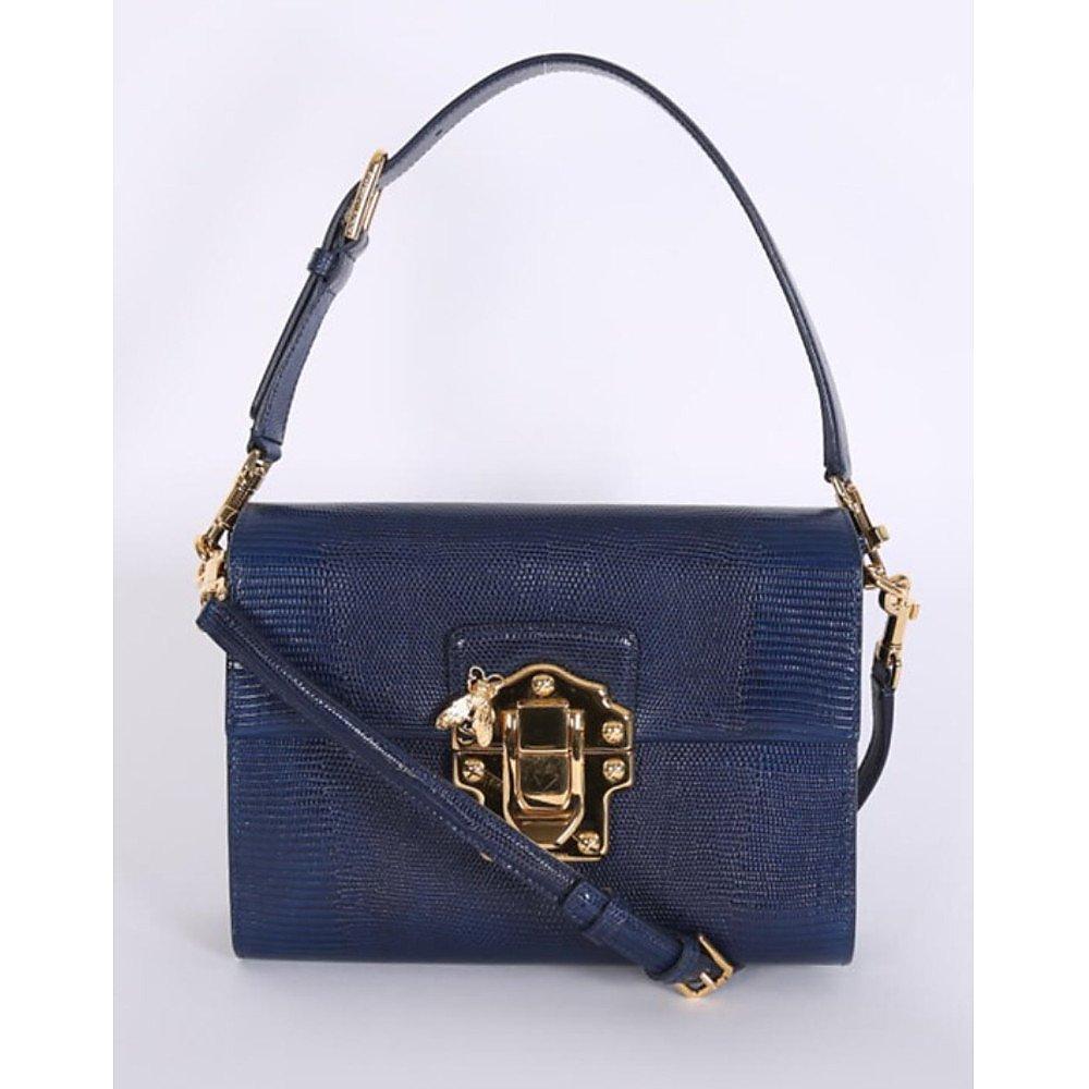 DOLCE & GABBANA Lucia Lizard-Effect Leather Shoulder Bag