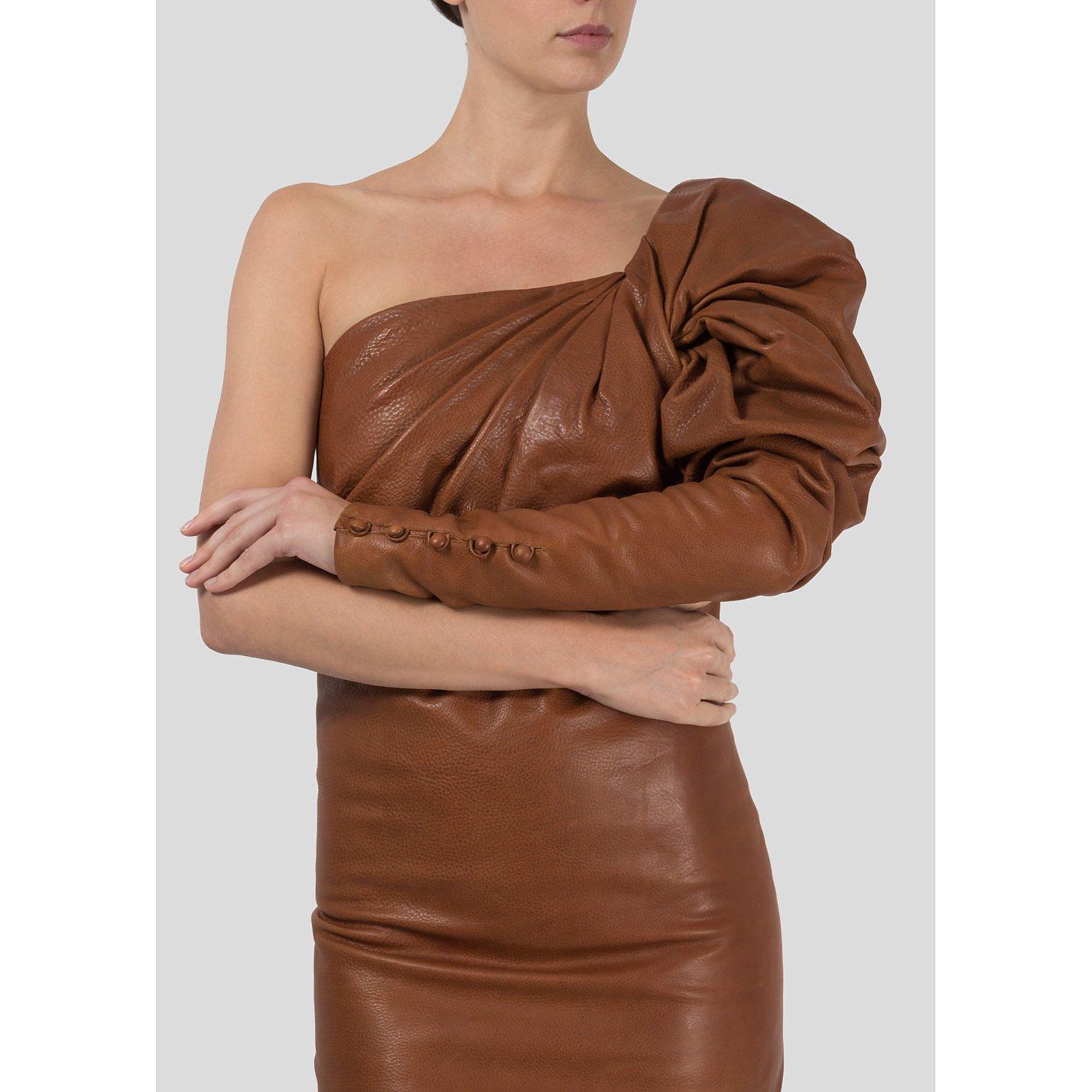 Saint Laurent Asymmetrical Leather Mini Dress