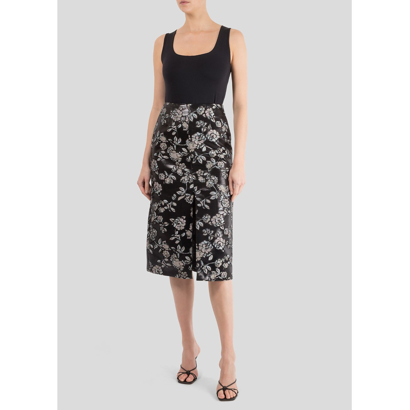 Markus Lupfer Charlie Painted Floral Lurex Skirt