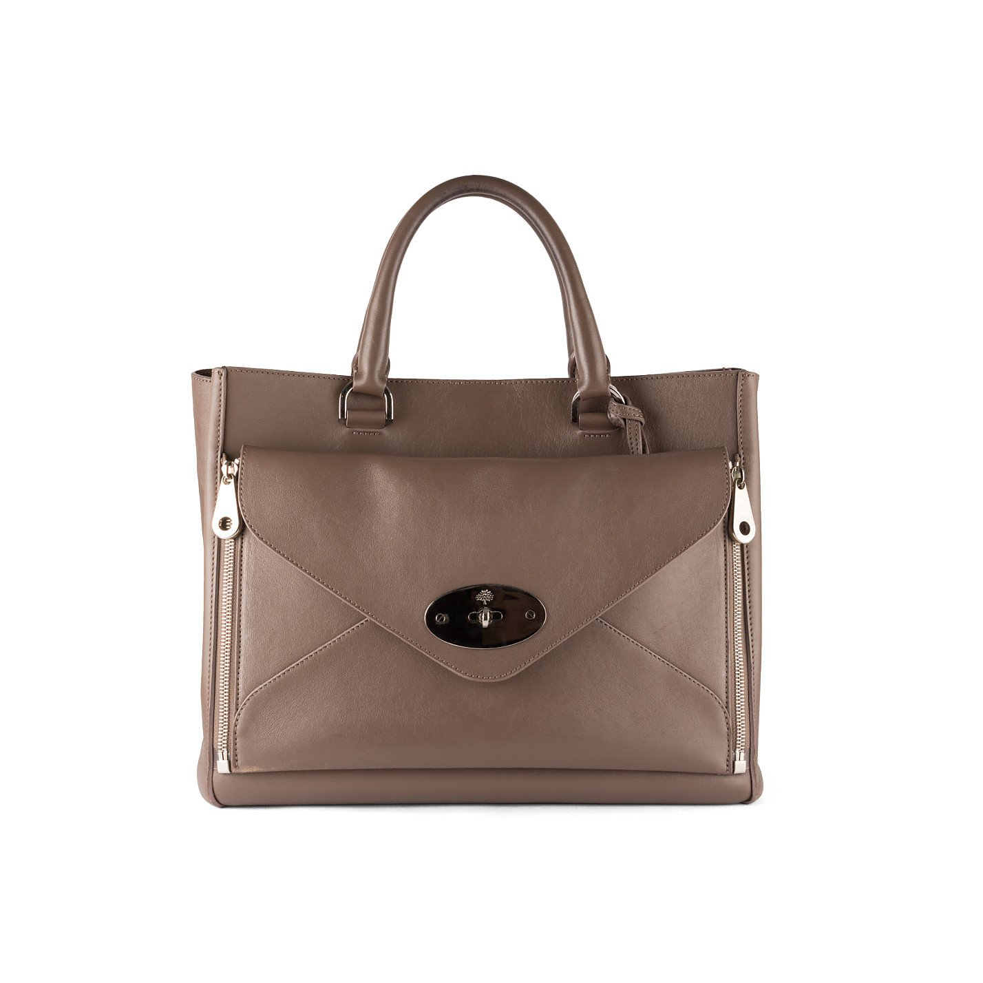 Mulberry Zipper Detail Leather Bag with Detachable Clutch