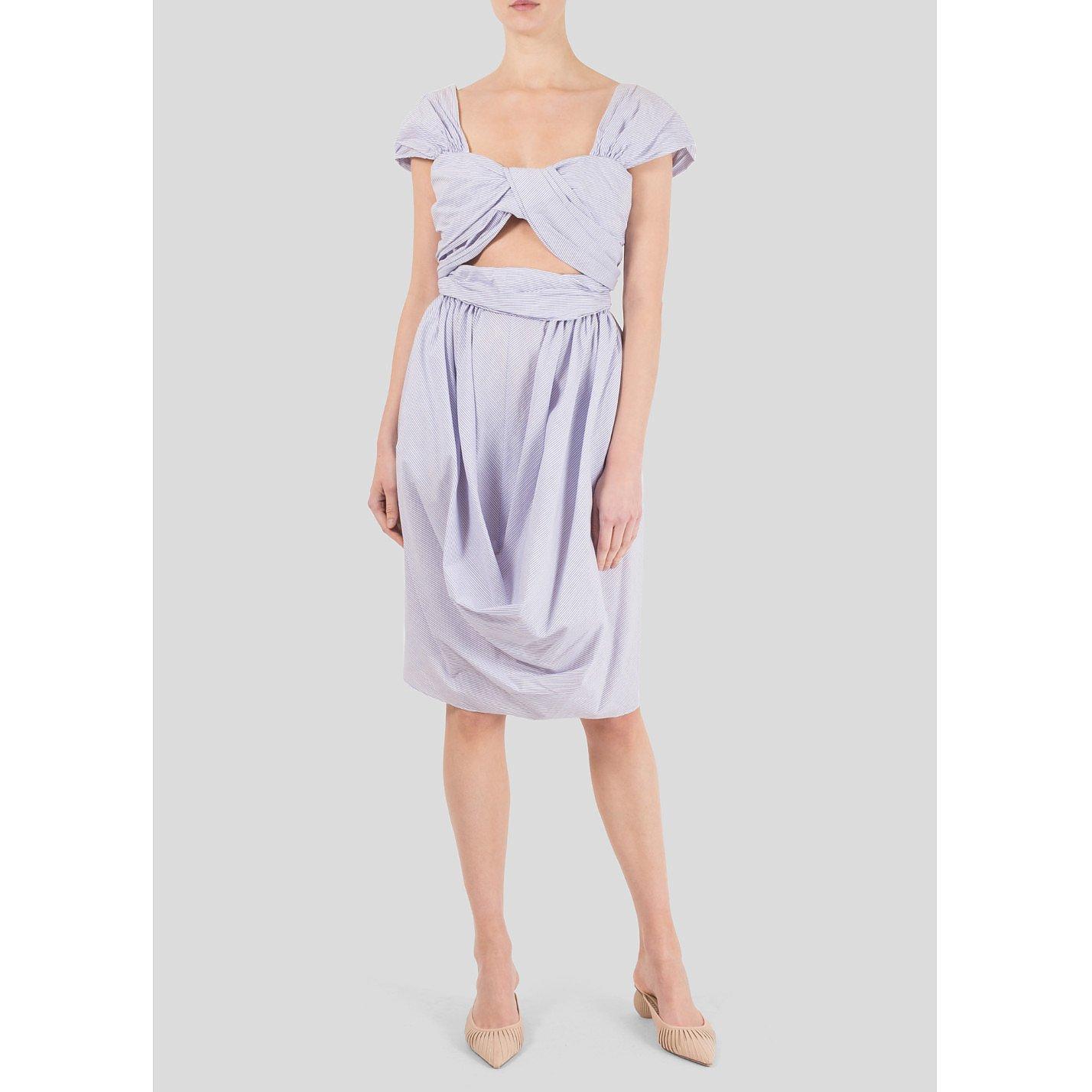 Carven Draped Pinstripe Dress