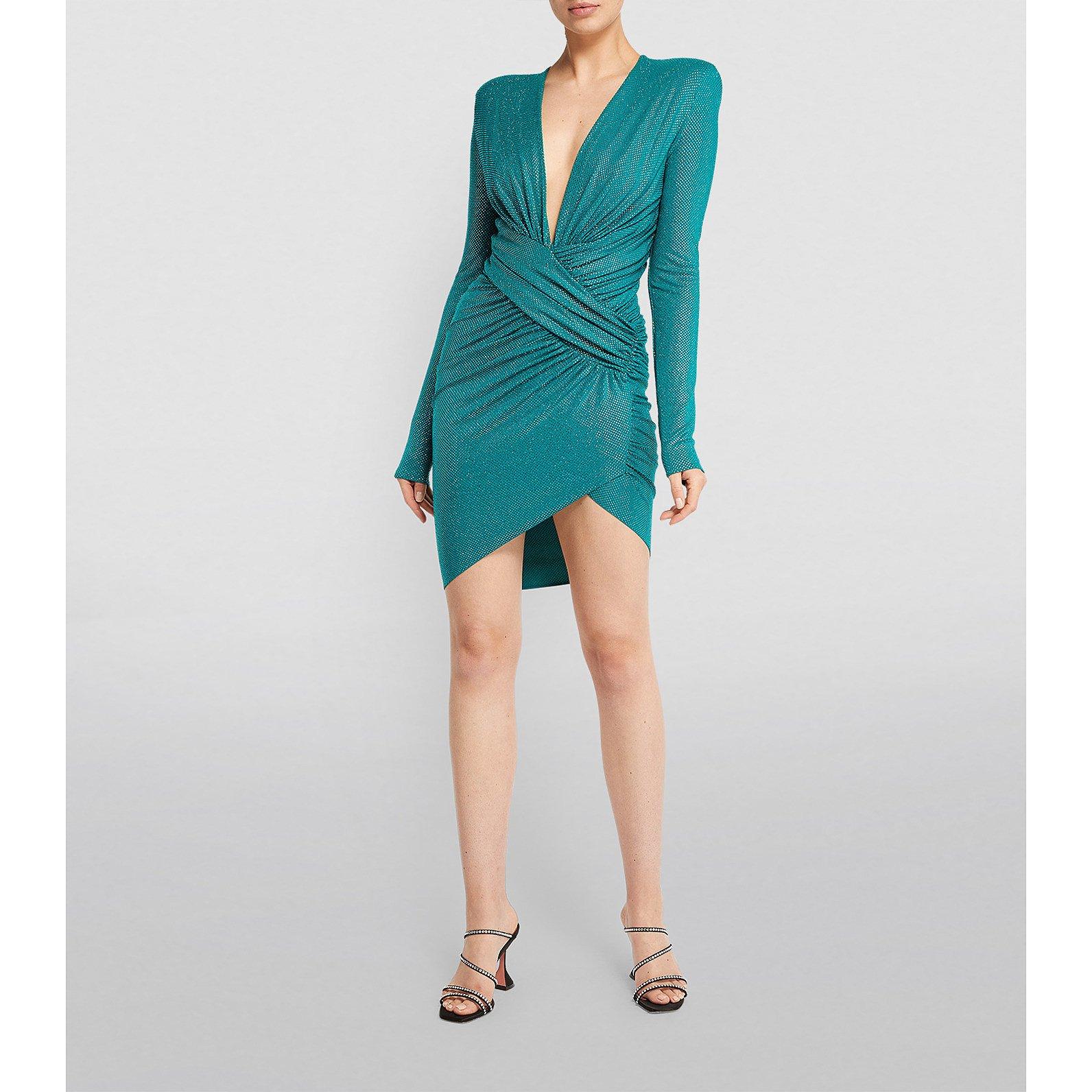 Alexandre Vauthier Micro Crystal Draped Mini Dress