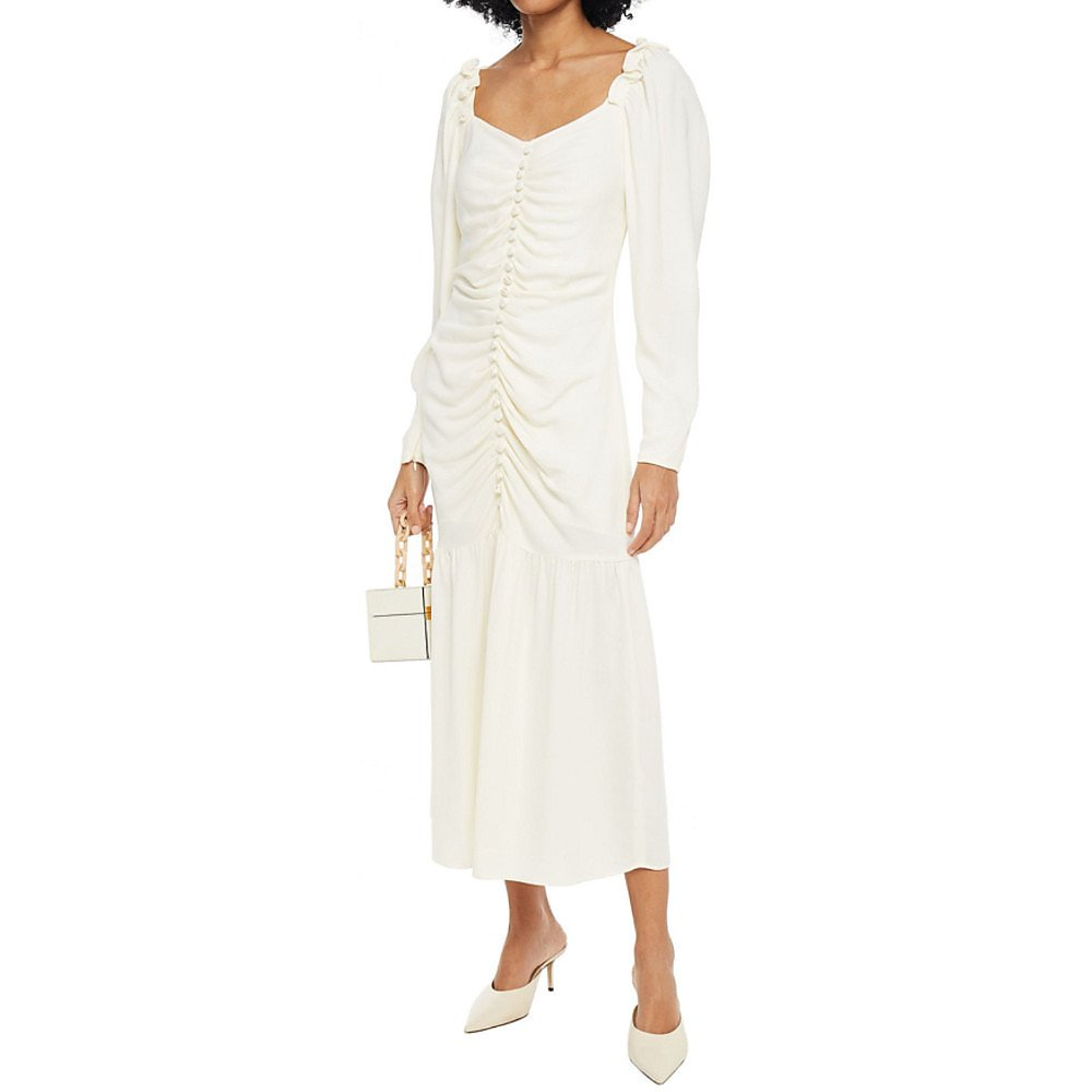 Mother of Pearl Pippa Ruched Crepe Midi Dress