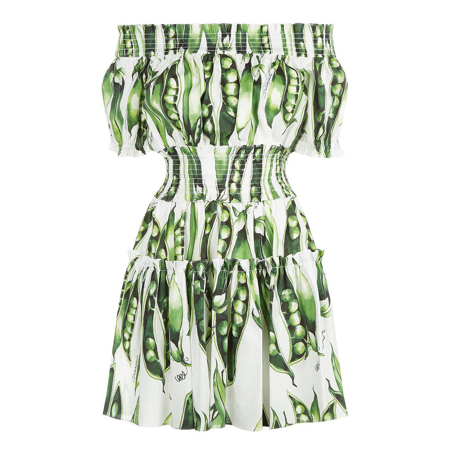 DOLCE & GABBANA Pea Print Off-The-Shoulder Dress