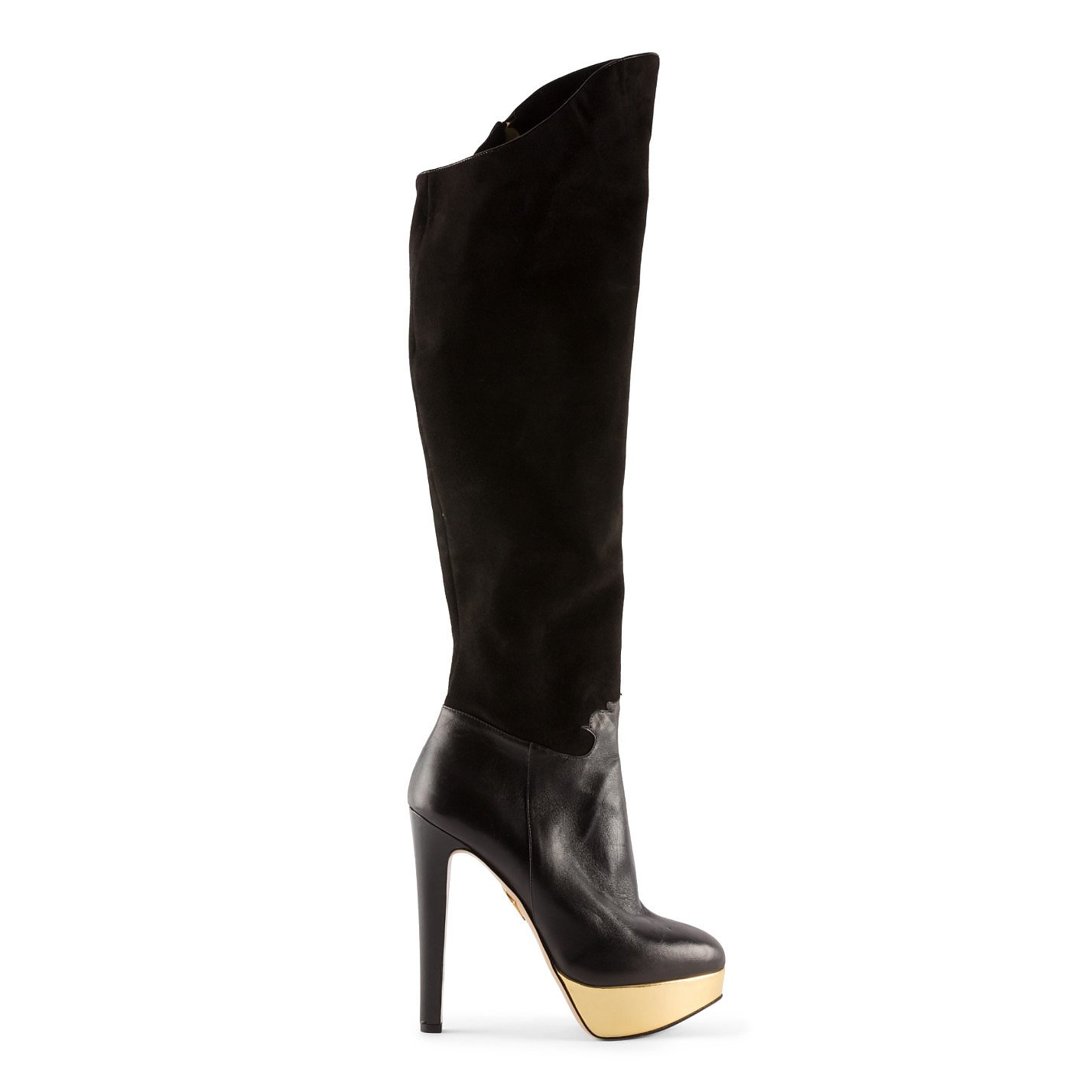 Charlotte Olympia Suede & Leather Heeled Platform Boots