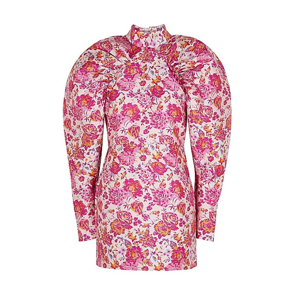 ROTATE Birger Christensen Puffed Shoulder Floral Mini Dress