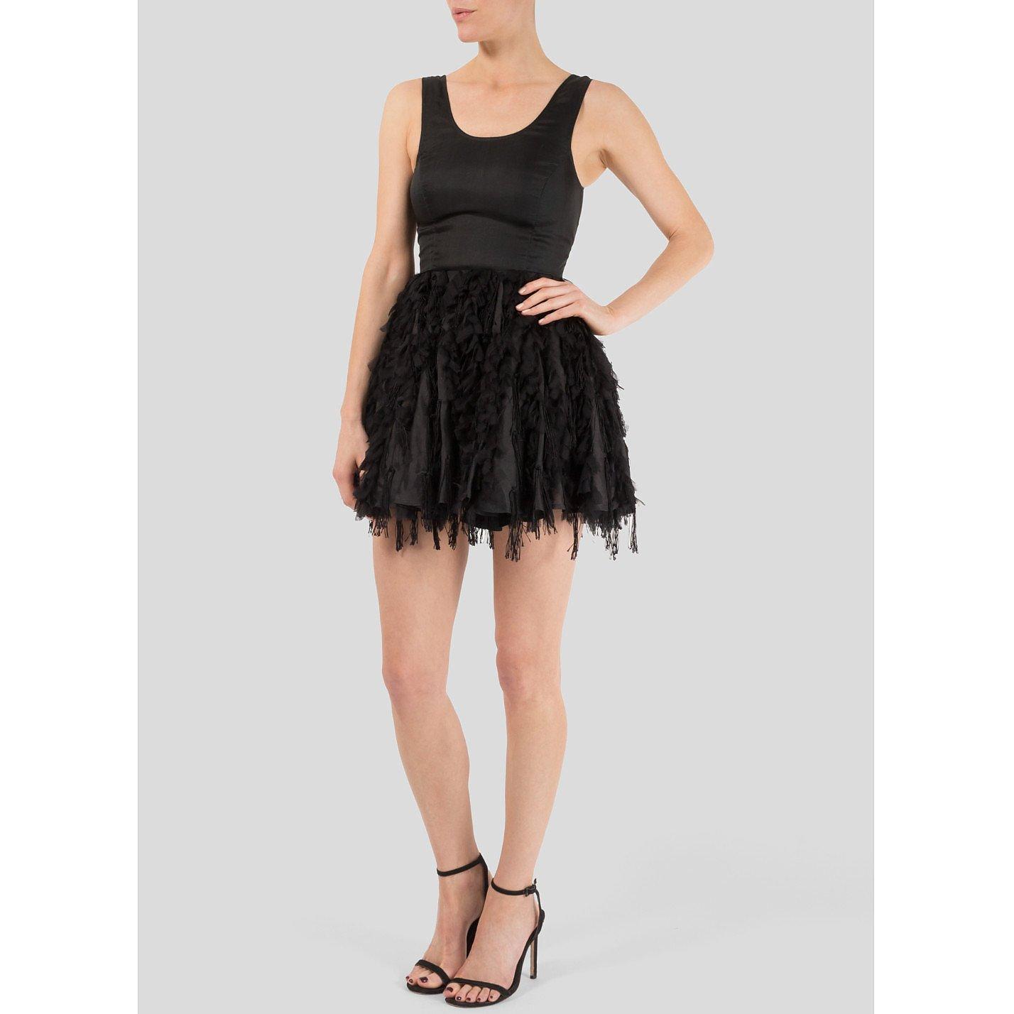 Felder Felder Silk Organza Mini Dress With Skirt Appliqué