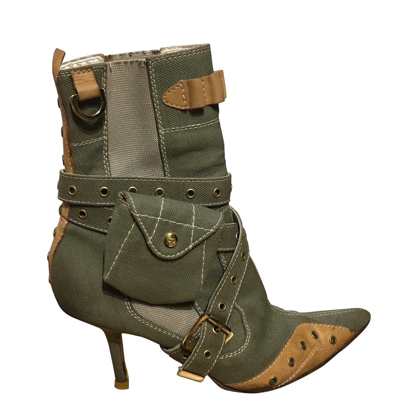 Dior Canvas Heeled Boots
