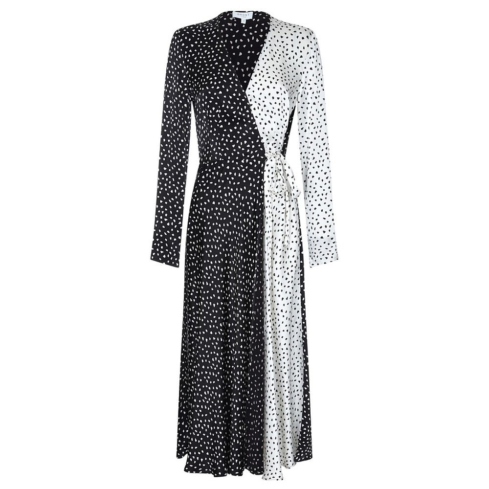 Ghost London Lucy Dotted Satin Wrap Dress