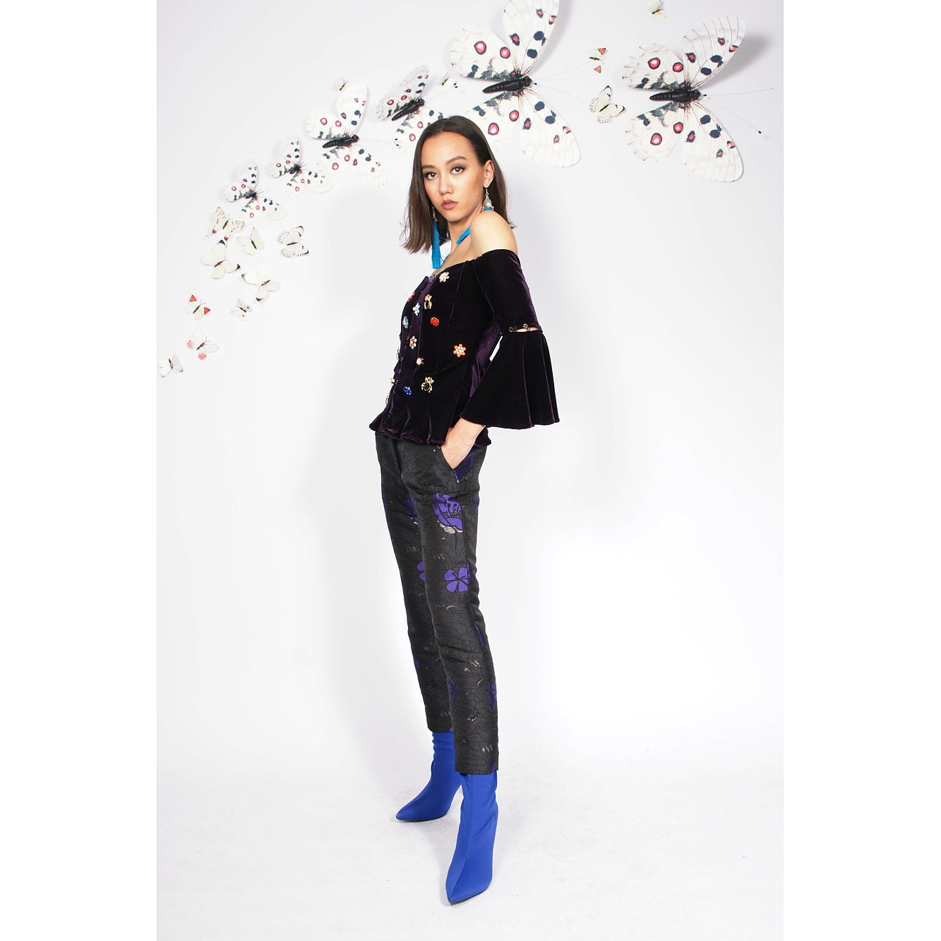 Syra J Cigarette Trousers With Flower Print