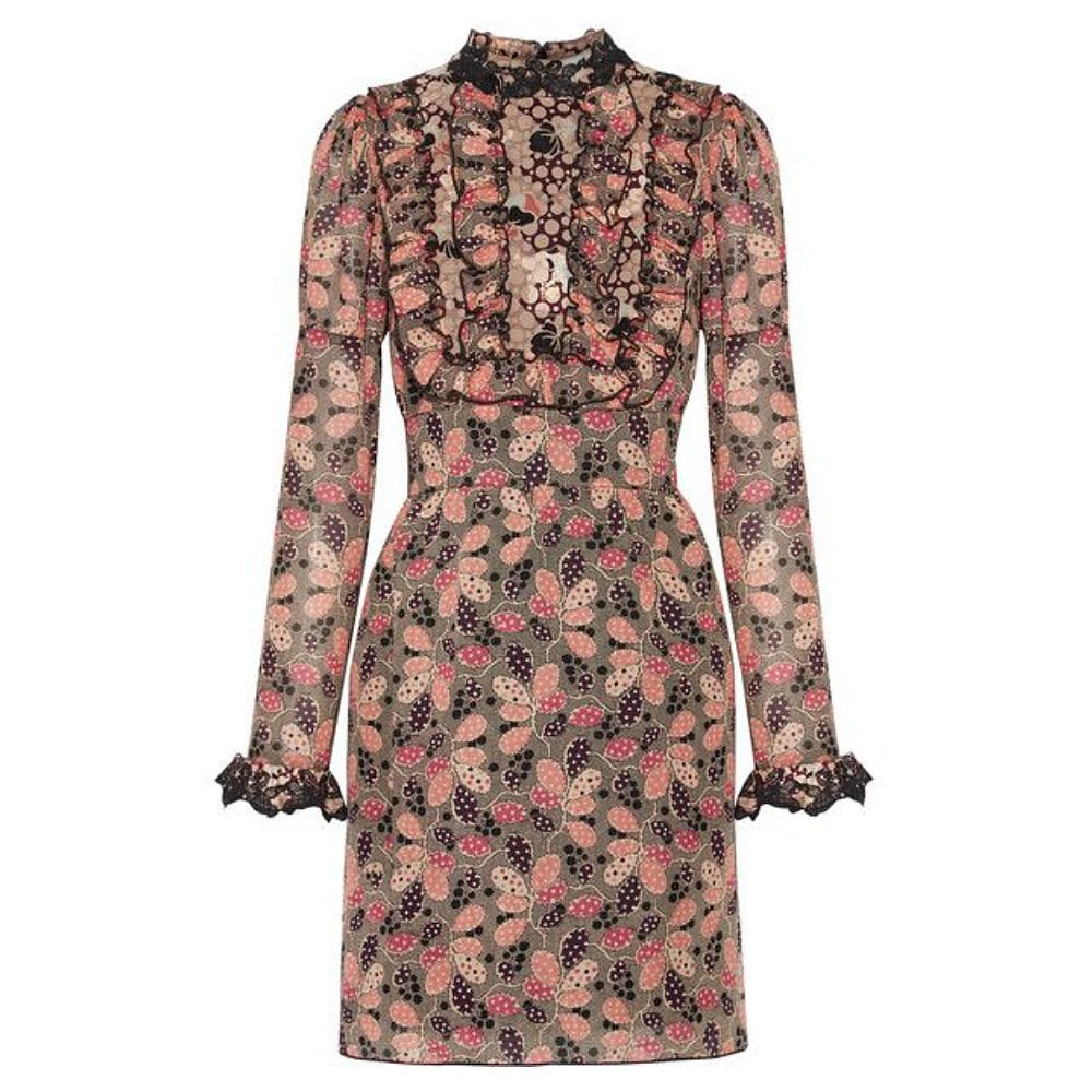 Anna Sui Lace-Trimmed Ruffled Printed Mini Dress